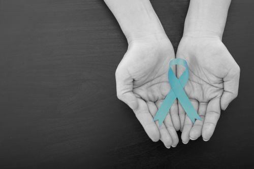Teal Ovarian Cancer Awareness Ribbon