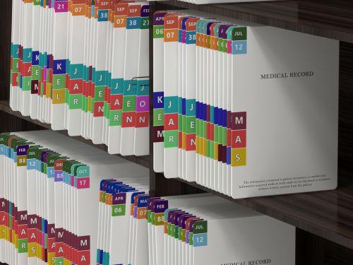 Medical records on shelf