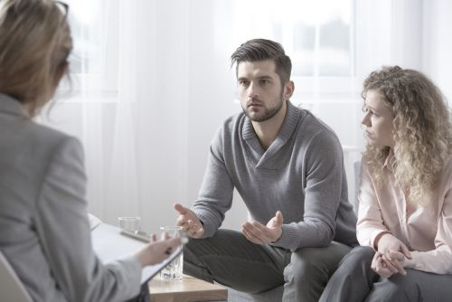 Spouses with problems talking to a counselor