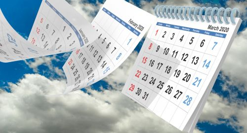2020 calendar with flying pages